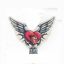 NAUGHTY HEART decal sticker FULL COLOR Wings Tongue Piercing Sexy Adult TRIBAL