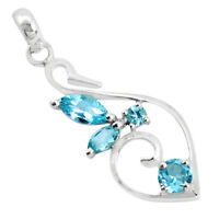 3.32cts Natural Blue Topaz Round 925 Sterling Silver Pendant Jewelry P36441