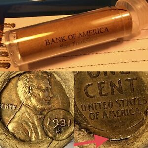 OLD LINCOLN WHEAT CENT ROLL 1931-S / VDB TAIL ENDS - BANK OF SAN FRANCISCO WRAP!