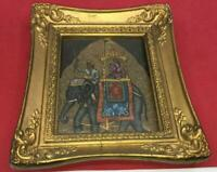 VTG INDIAN INDIA QUEEN ON ELEPHANT PICTURE  HAND PAINTED 1961 ORNATE FRAME ART