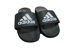 Adidas Slides Black White Soft Foam Youth Big Kids US Size 1 EUC Sandles Shoes