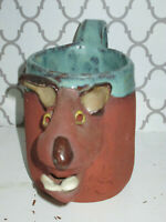 Vintage Stoneware 3D Mug Ugly Face Signed Pottery Mouth Open Glazed rim  (W)