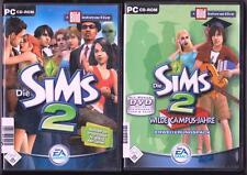 Die Sims 2 Hauptspiel + ADDON Wilde Campus-Jahre Sammlung PC Spiele