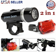 Bike Bicycle Light 5 LED Rear Safety + Front Head FLASHLIGHT Waterproof Lamp