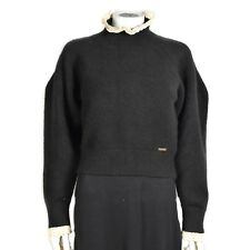 DSQUARED TURTLENECK SWEATER BLACK WOMENS SMALL - S - LACE TRIM