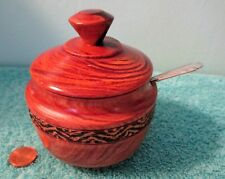 Vintage Hand Turned & Carved Wood Sugar Spice Condiment Bowl, Lid, &  SP Spoon
