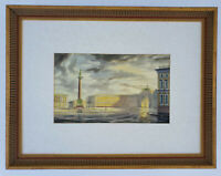 ORIGINAL Watercolor SIGNED Palace Square ST. PETERSBURG Hermitage WINTER PALACE