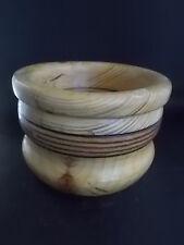Handmade Turned English Wooden Bowl Fabulous Wood Graining Treen Woodenware 7