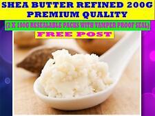 SHEA BUTTER 200G ☆REFINED QUALITY Butyrospermum Parkii 2 X 100G PACKS☆ FREE POST