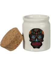 Day of the Dead Sugar Skull Ceramic Pot avec bouchon couvercle blanc-GRATUIT UK p&p