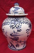 Blue White Hand Painted Faience Bird Lidded Vase Ginger Jar Bird 19th C