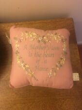 "Cute And Cuddlies Pink Floral Embroydered A Mothers Love Cushion  10"" New"