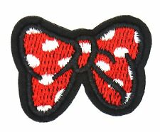 POLKA DOT BOW TIE PATCH, RED WHITE BOW-TIE EMBROIDERED APPLIQUE MINNIE (MBM-632)