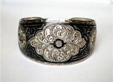 Vintage Russian Russia Soviet Silver 875 Kubachi Niello Wide Cuff Bracelet 30.2g
