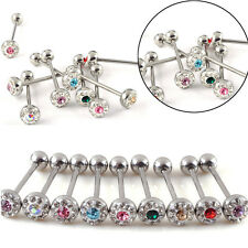 12X 316 Surgical Steel Tounge Nipple Rings Bars Barbell Body Piercing Jewelry