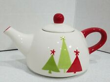 Pier 1 Ceramic Teapot Modern Tree Design Single Serve One Cup Great Kitchen Gift