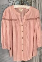 NEW Plus Size 2X Peach Blush Pink Peasant Blouse Button Top Crochet Shirt