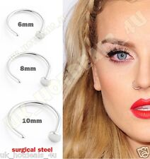 Small Tiny Surgical Steel Open Nose Hoop Ring Stud Tragus Piercing 6mm 8mm 10mm Gift Bag Only