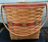 "Longaberger 1990 Holiday Hostess 13"" Measuring Basket-RED AND GREEN STRIPE"