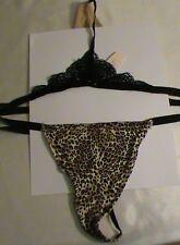 Victoria's VS animal V-string underwear panties-L lace low black tan beige NWT