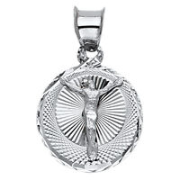 Real 14K White Gold Round Jesus Cross Crucifix Small Medallion Pendant Charm