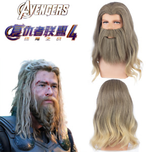 Avengers 4 Endgame Fat Thor Wig With Beard Cosplay Prop Synthetic Yellow Hair