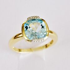 NATURAL BLUE TOPAZ RING 6ct SKYBLUE GEM GENUINE DIAMONDS 14K 585 GOLD SIZE S NEW