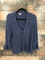 J.Jill Women's Navy Chunky Knit Sweater Cardigan with Bell Sleeve Detail Size M
