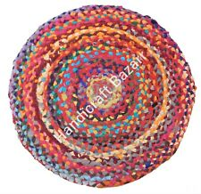 """24"""" Braided Round Handmade Cotton Chindi Washable Fancy Foot Door Entrance Mat"""