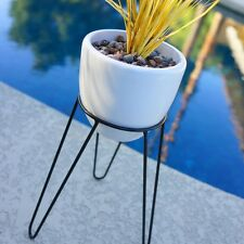 "14"" MODERN HAIRPIN PLANTER & STAND - MID CENTURY EAMES ERA BULLET VINTAGE STYLE"