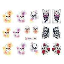 Nail Art Sticker Water Decals Transfer Stickers Halloween Skulls (BN199)