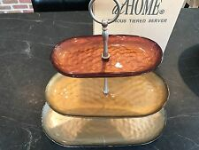 Southern Living at Home LUMINOUS Tiered Server Metallic Glass #40975 EUC 3 Tiers
