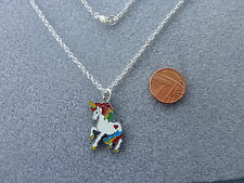 "Rainbow Unicorn Enamel Charm Pendant Necklace 16"" Birthday Gift/Present - # 32"