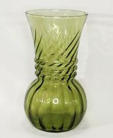 "Vintage Indiana Glass Avocado Green Optic Swirl Twist Small Vase 6.5"" EUC"