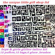 GLITTER TATTOO KIT boys girls 200 stencils 24 glitters 6 glue  bruhes