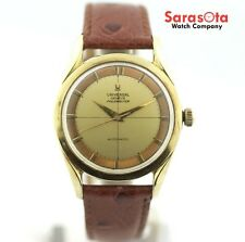 Vintage Universal Geneve Polerouter Ostrich Leather Bumper Automatic Mens Watch