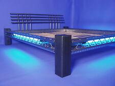 DESIGNER BETT Neonbett Metallbett Stahlbett  Mod.4P-Q-AL NEON blau 160x200