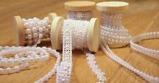 Deko Borte 5,4m weiß 4er Set Vintage Perlenband Perlenkette Perlen Bordüre