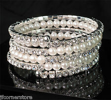 BRIDIAL DIAMANTE & PEARL  BANGLE IN GIFT BOX**BEAUTIFUL GIFT BR97