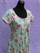Color Me Cotton Womens Linen Sun Dress S Lite Yellow Aqua & Pink Pin Tuck Detait