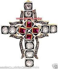 Ruby Religion Cross Pendant Jewelry Victorian 2.76cts Rose Antique Cut Diamond