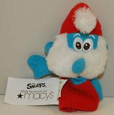 "2010 Papa Smurf 4.5"" Macy's Plush Finger Puppet Action Figure Toy Smurfs"