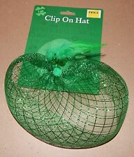St.Patricks Day Green Felt Clip On Hat Feathers Shamrock 103N