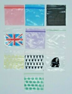 50 X 50 Plastic Sealy Grip ZIP LOCK ZIPPER Gummy Bags Bagges Colors, Leaf, smile