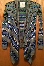 ABERCROMBIE KIDS Girls Size Small S Multi Blues Green Gray Cardigan Sweater