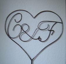 Herz mit Initialen / Buchstaben nach Wunsch Liebe Verlobung Hochzeit aus Metall