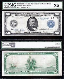 VERY NICE Bold & Crisp VF+ 1914 $50 Philadelphia FRN Note PMG 25! FREE SHIP! 409
