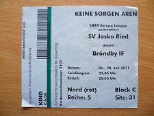 UEFA Europa League 28 July 2011 Ticket-  SV JOSKO RIED v BRONDBY