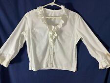New listing 1950's Blouse- M- White- Square Neckline w/Ruffles/Ruffled Cuffs- Chic