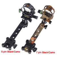 """5 Pin 7 Pin Archery Compound Bow Sight Micro Adjustable 0.019"""" Long Pole"""